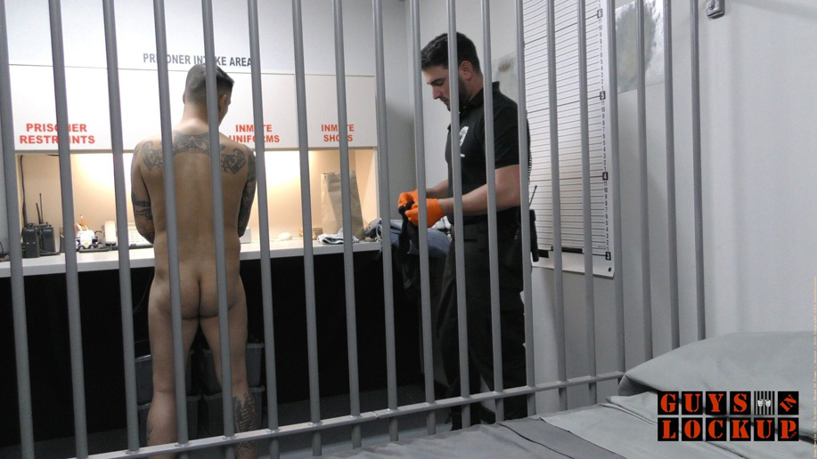 The inmate's body is checked, searched, stripped and cuffed